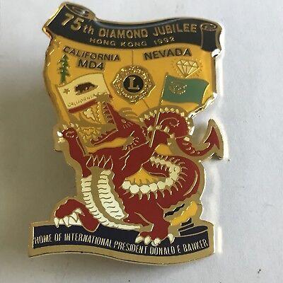 Older Lions Club International Pin MD 4 California Nevada- 1992 Hong Kong