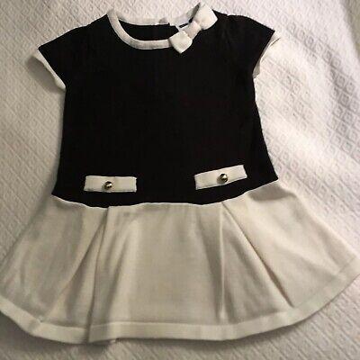 JANIE AND JACK BABY GIRLS DRESS SIZE 12 MOS BLACK & WHITE 100% COTTON - Jack Jack Baby