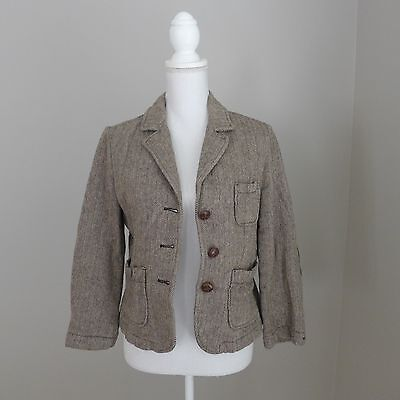 Abercrombie Brown Tweed Lined Jacket Coat Size L