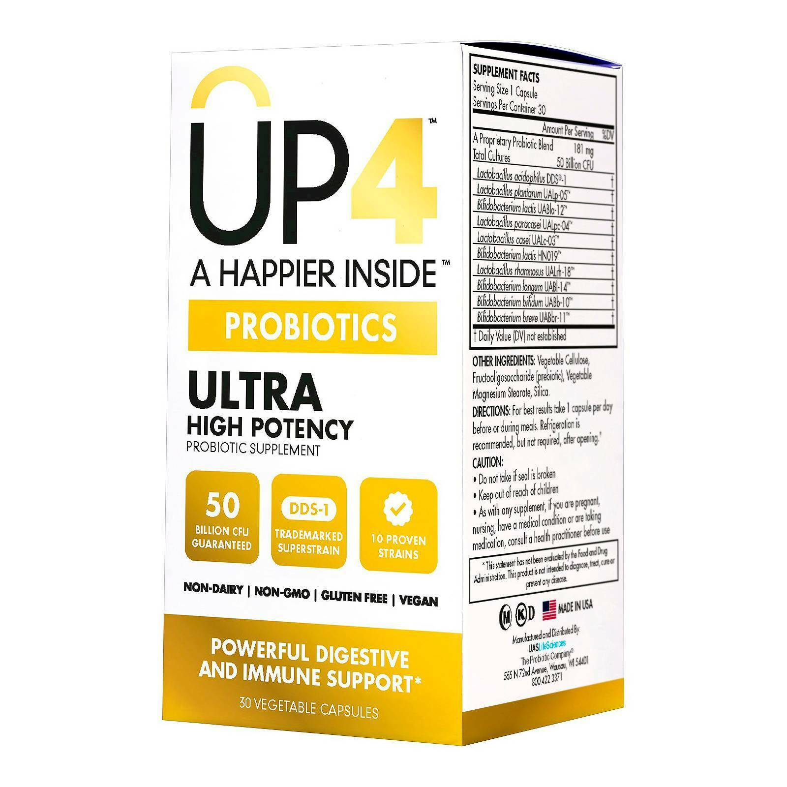 Up4 Probiotics Ultra High Potency 30 Vegetable Capsules