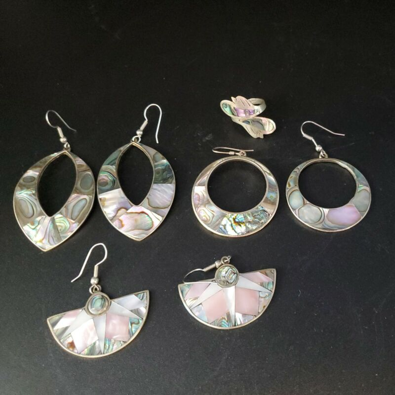 Lot of Alpaca Mexico Abalone Jewelry 3 Pairs Pierced Earrings 1 Ring