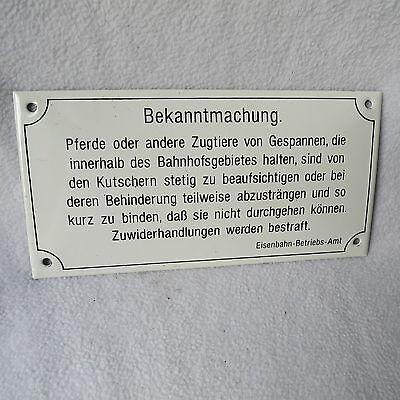 Emailschild Emaille Schild Bekanntmachung Eisenbahn Betriebsamt 20x10cm