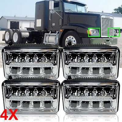 Used, For 1988-2007 Freightliner FLD120 FLD112 4x6 inch LED DRL Headlight High-Low 4X for sale  USA