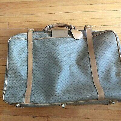 "Vintage GUCCI Monogram coated canvas Suitcase Luggage Travel Bag Large 27"" x21"""