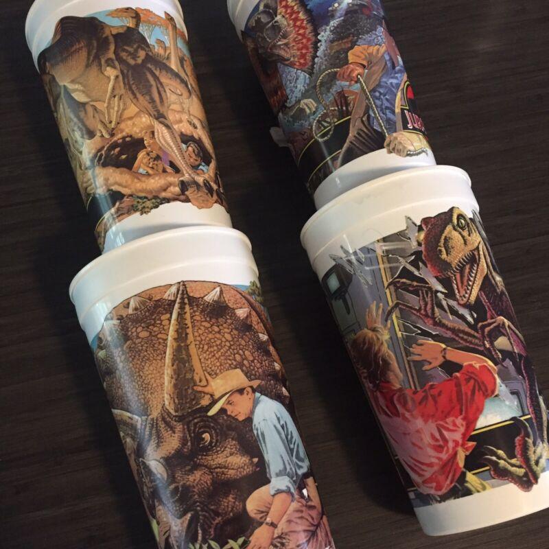 Jurassic Park McDonalds Plastic Cups Set Lot 4 1992 World