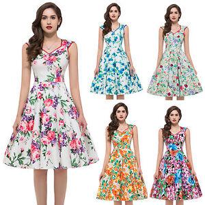 Hot sale floral 40s 50s rockabilly dress vintage swing pinup club