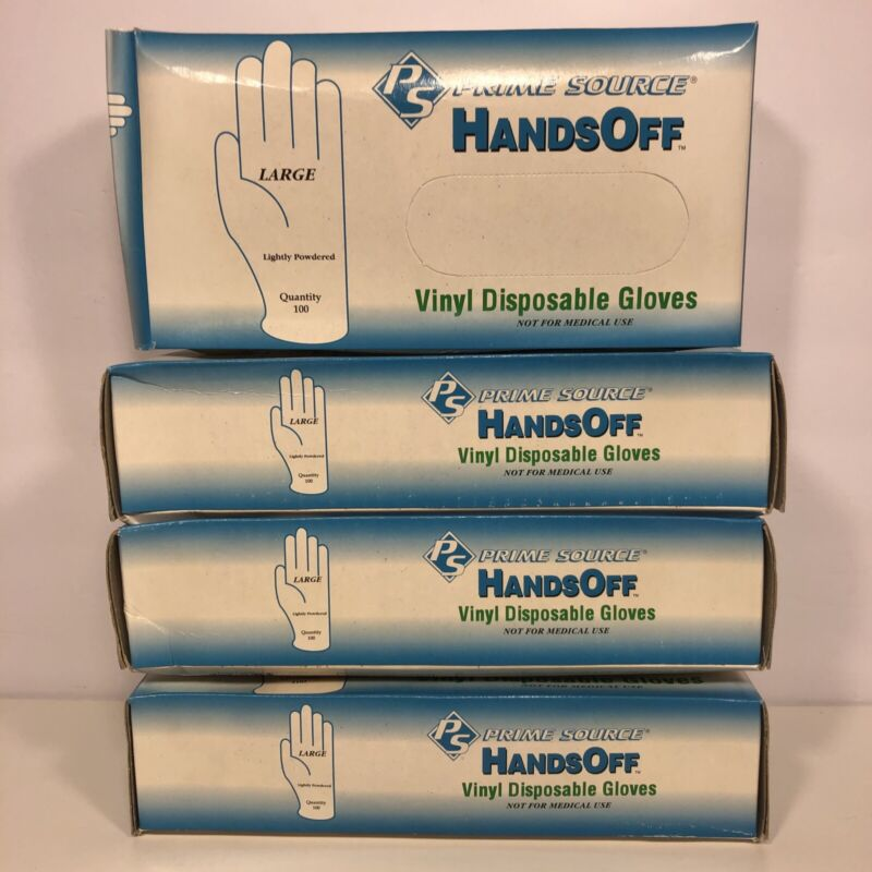 Lot Of 4 Boxes Large Disposable Vinyl Gloves (100-Count) Each