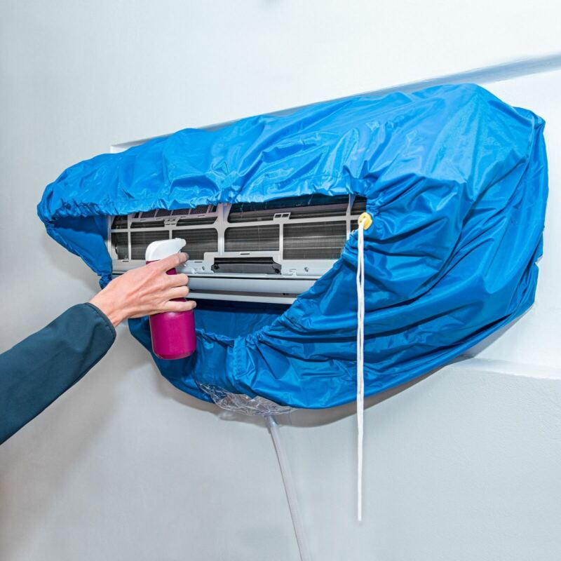 Air Conditioner Cleaning Cover Waterproof Dust Washing Protector Bag & 10ft Hose