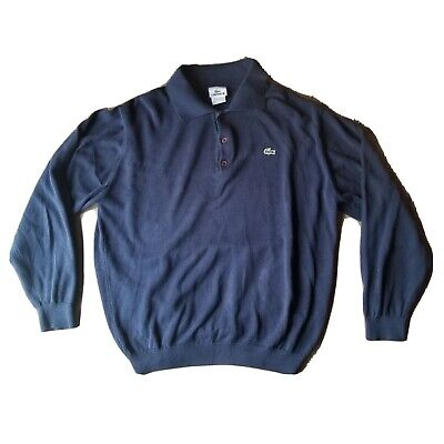 Lacoste 1/4 Button Henley Polo Rugby Shirt Long Sleeve Blue Alligator 6 Large