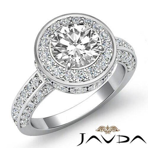 1.7ct Round Halo Pave Diamond Engagement Elegant Ring GIA F VVS2 Platinum 950