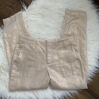 J Crew Women's Pants Size 0 100% Linen Metallic Gold Shine Cropped Tapered