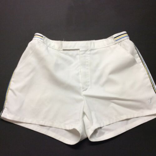 Vintage Tennis Shorts Jantzen White Sports Shorts Heavy Belted Waist Size 34
