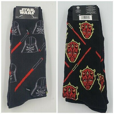 2 Pair Star Wars Crew Socks Adult Shoe Size 6-12, Darth Vader, Maul, Gift L3 M