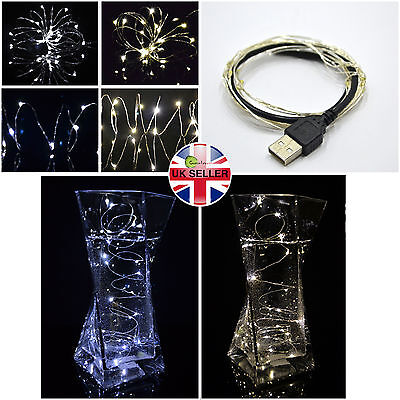 Silver Christmas Lights (20 30 40 Micro LED Silver Wire Christmas USB Fairy Lights Warm White Waterproof )