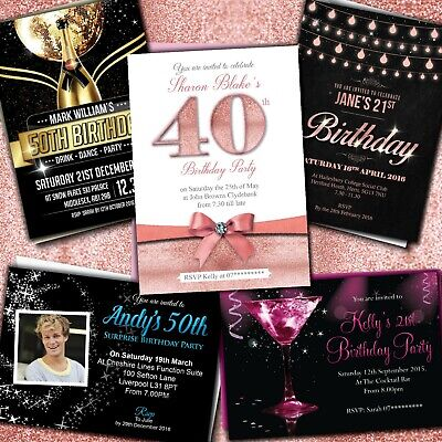 18. 21. 30. 40. 50. 60. Geburtstagseinladungen Personalisiert Party Einladungen ()