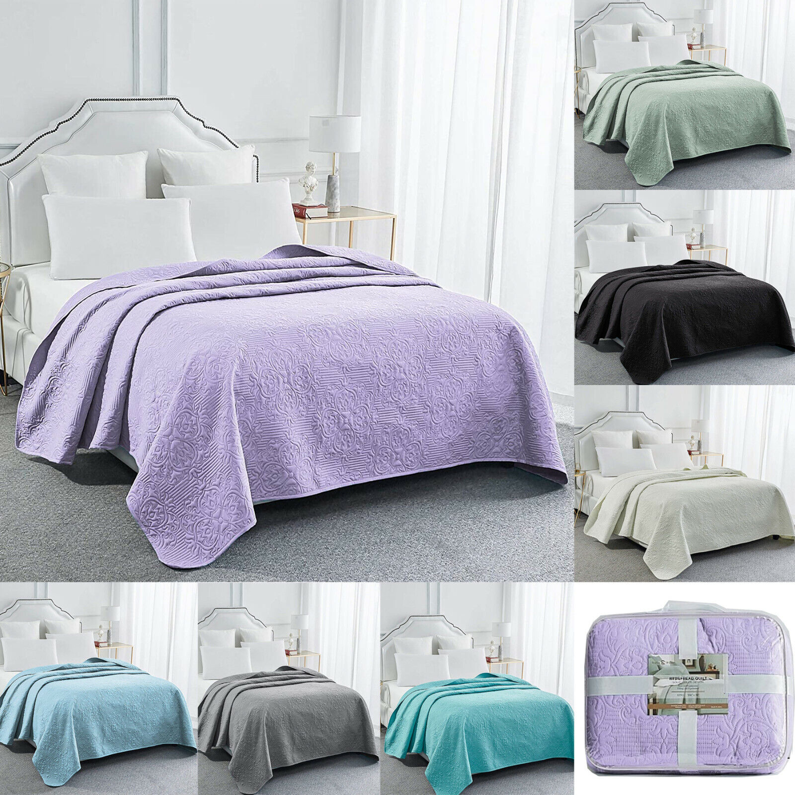 Embossed Bed Quilt Bedspread Soft Microfiber Bedding Coverle