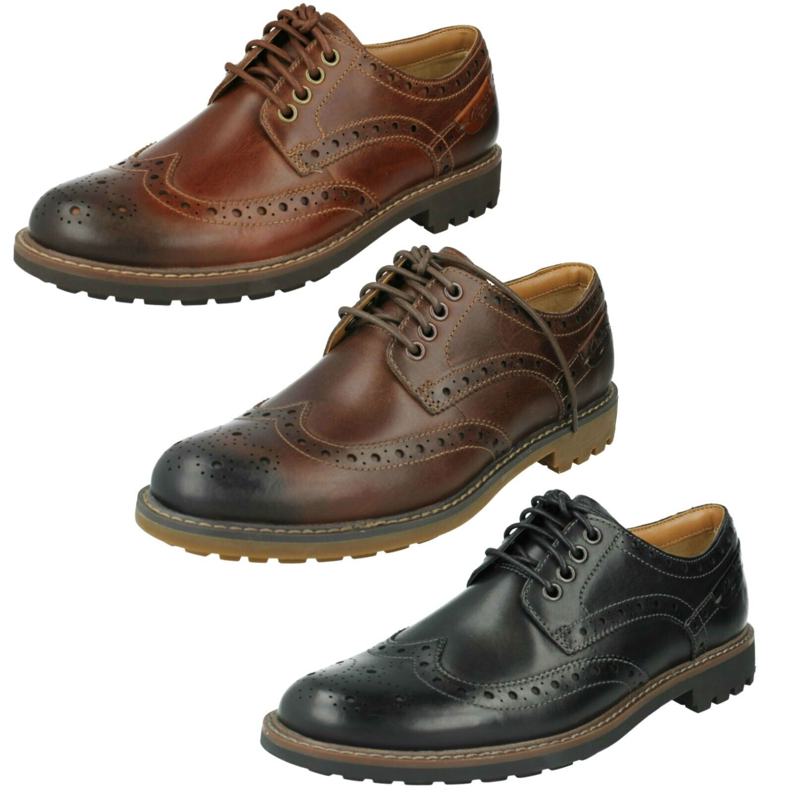 Mens Clarks Leather Dress Lace up Casual Brogue Formal Shoes