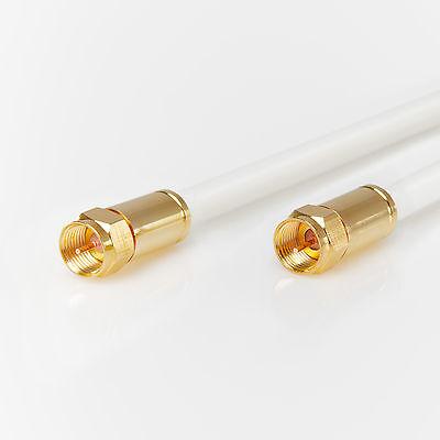 Antennenkabel HD 20m 135dB TV Sat Digital F-Stecker Vergoldet Weiß 3D 4K Koax