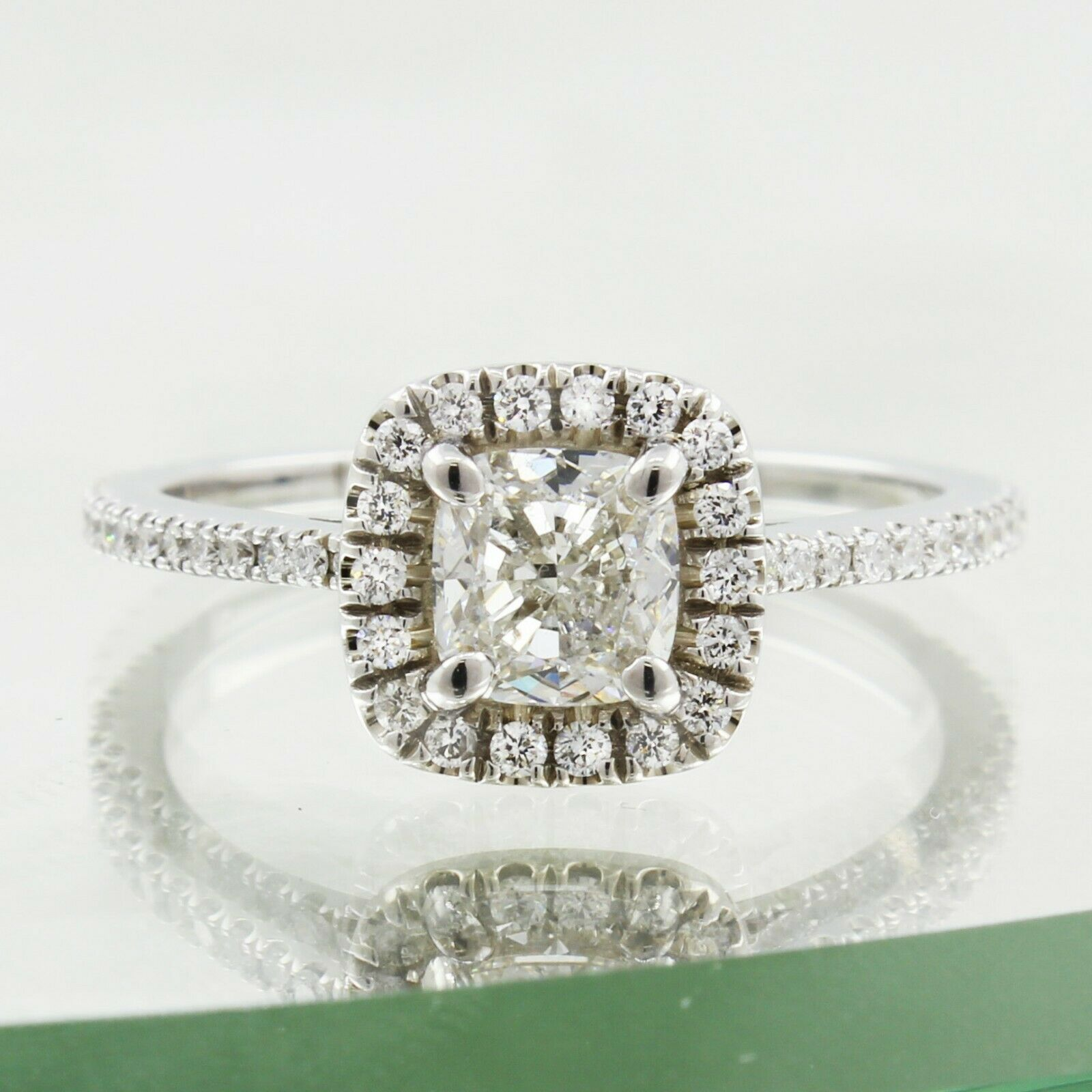 GIA Certified Diamond Engagement Ring 1.28 carat 14k White Gold Cushion Cut