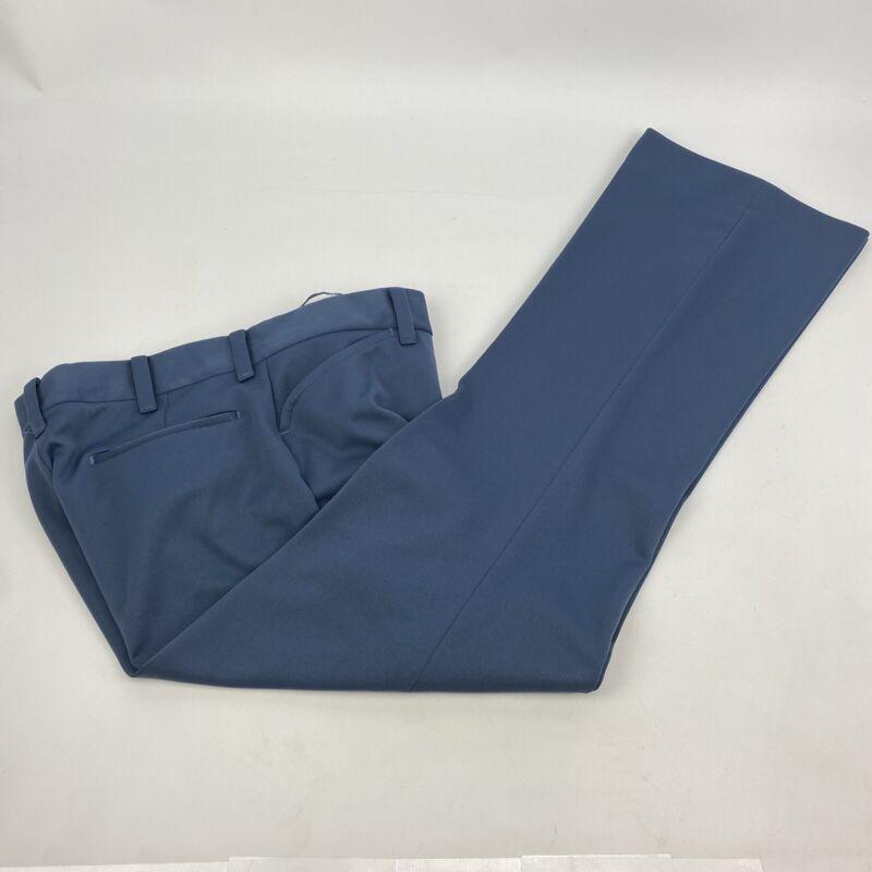 Vintage 70s Farah Polyester Stretch Blue Slacks 32x32 Disco Rockabilly Casual