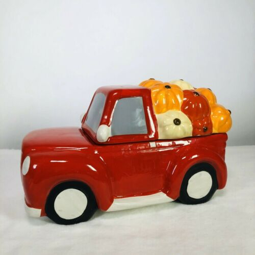 New Ceramic Autumn Fall Harvest Red Truck Pumpkins Cookie Jar Hand Painted