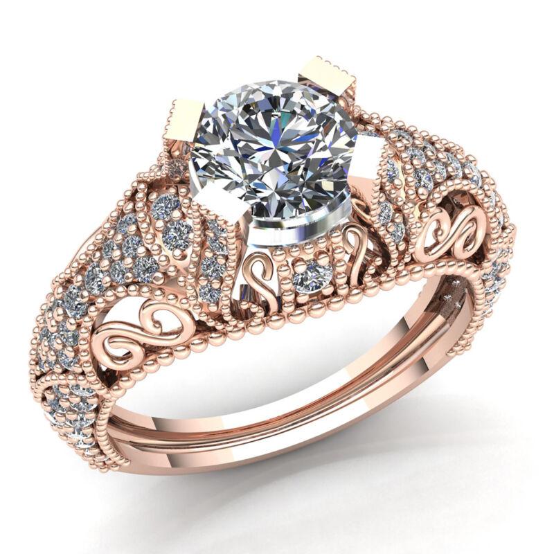 Real 1.5carat Round Diamond Ladies Vintage Solitaire Engagement Ring 14k Gold