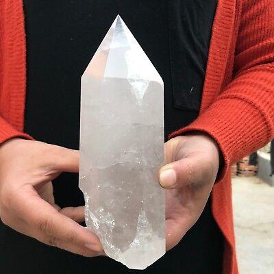 2.2LB Natural Quartz Crystal Clean Obelisk White Terminated Wand Healing F743