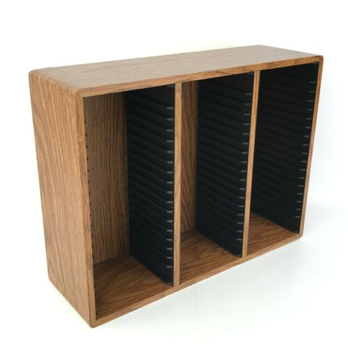 60 CD Wall Mount Storage Rack Holder Display Shelf Retro Wood Grain Look