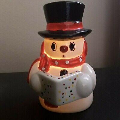 Vtg Irice Ceramic Winter Snowman Light Up Lamp Nightlight
