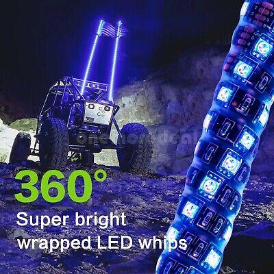 3FT/0.9M RGB LED Whip 360°C Spiral+Quick Release Base Remote Control for ATV/UTV