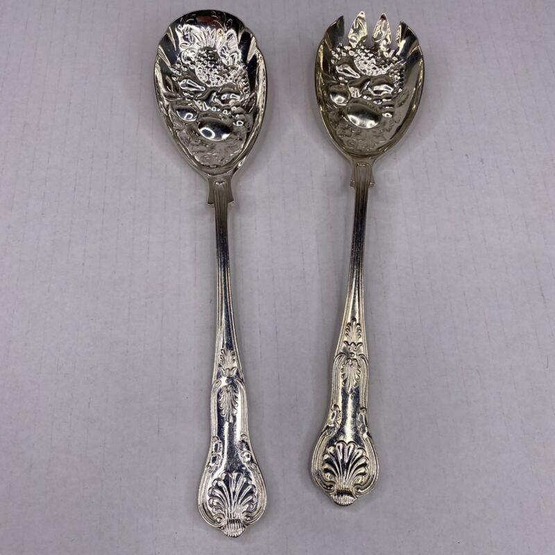 Vintage Kings By Sheffield Salad Or Fruit Servers Silverplate Silver Plate