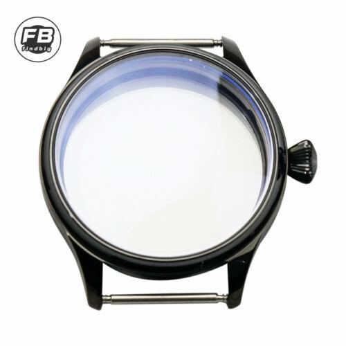 Black 44mm Sterile 316L Steel Watch Case fit ETA 6497/6498 Tianjin ST36 Movement