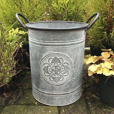 Metal Garden Planter Flower Pot Tub Round Vintage Style Grey Zinc Plant Pot 28cm