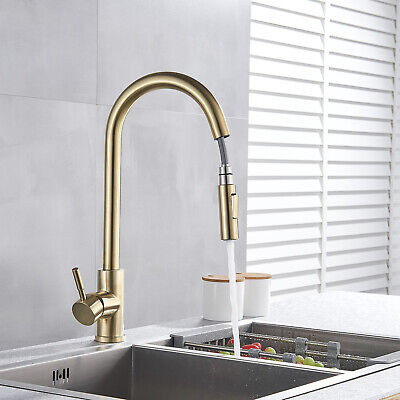 Kitchen Faucet Sink w/ Pull Down Sprayer Single Hole Copper Faucet Brushed Gold