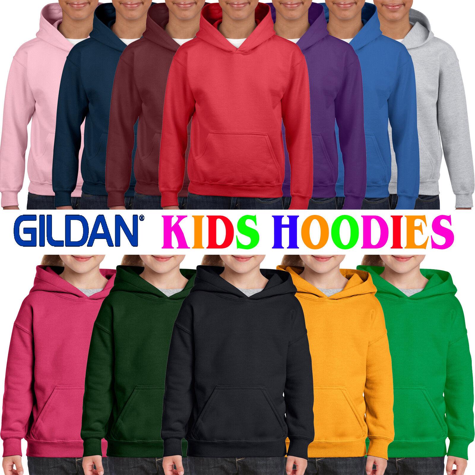 Purple S Gildan Heavy Blend Childrens Unisex Hooded Sweatshirt Top Hoodie