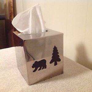 Nice Bear & Tree Stainless Tissue Holder.  Sold ppu Kitchener / Waterloo Kitchener Area image 1