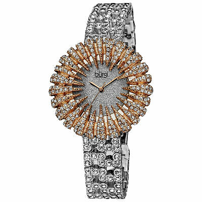 New Women's Burgi BUR054RG Dazzling Crystal-Accented Two-tone Bracelet Watch