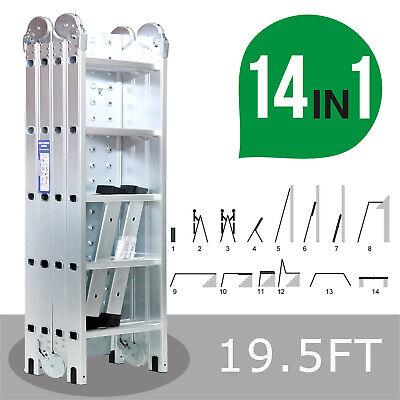 19.5FT Extension Multi Purpose Folding Aluminum Step Ladder Multi-Function