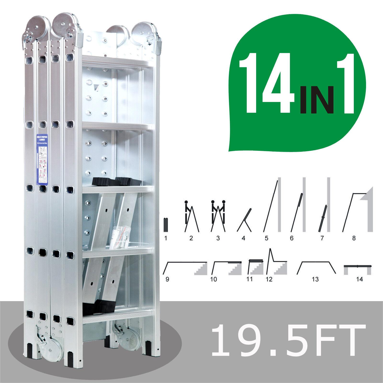 19.5FT Extension Multi Purpose Folding Aluminum Step Ladder