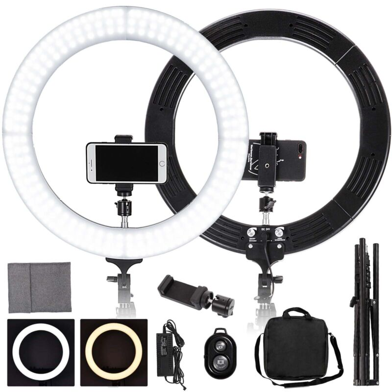 """19"""" 448Pcs LED Ring Light Dimmable 5500K For SmartPhone/Camera with Light Stand"""