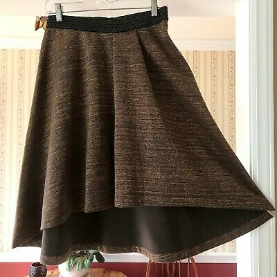 Gold Metalic Skirt (HD Anthropologie High-Low Skirt Charcoal Grey/Black Gold Metallic Size)