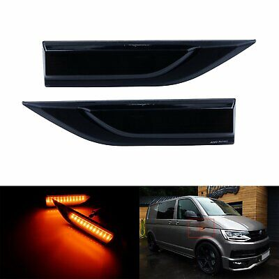 For VW T6 Transporter Black Smoked LED Side Indicator Repeater Signal Light L+R