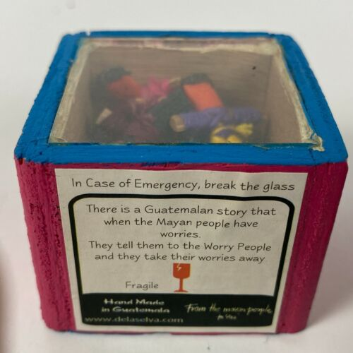 Vintage Box Guatemalan Worry Trouble Dream Dolls Mayan People Legend Miniature