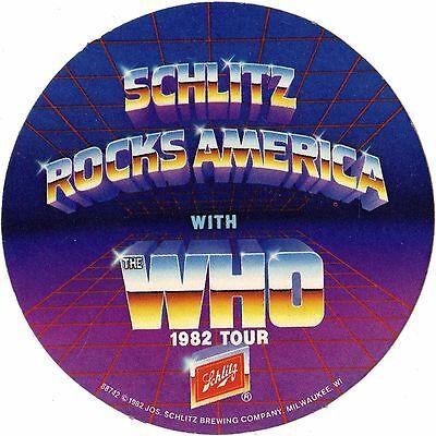 THE WHO Concert Ticket Sticker SCHLITZ BEER ROCKS AMERICA ITS HARD TOUR 1982