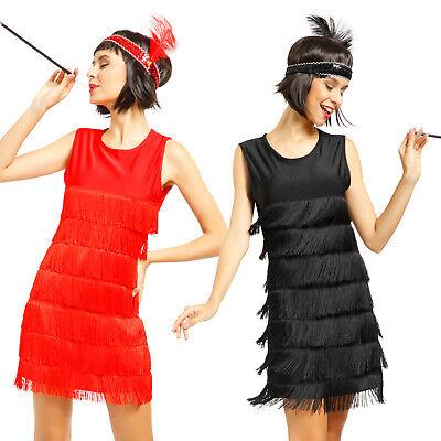 20er 30er Jahre Karneval Kleid Kostüm Flapper Charleston mit Haarband Schwarz