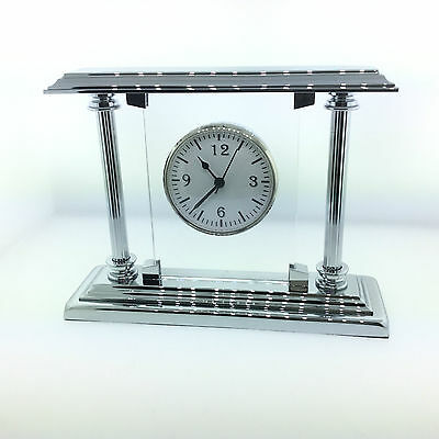 El Casco Executive Chrome Glass Desk Clock M-663 Ct