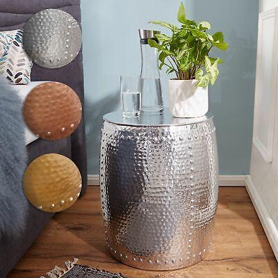 Asiatische Wohnzimmer Beistelltisch (FineBuy Beistelltisch Rund Hammerschlag Couchtisch Aluminium Wohnzimmertisch Alu)
