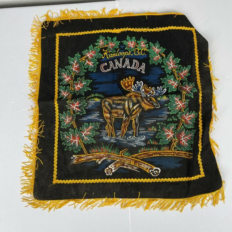 Vintage Velvet Moose Kamloops B.C. Canada Souvenir Pillow Case Sham Square