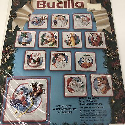 VTG Bucila Santa Collage Christmas Cross Stitch Kit 83044 1993 Counted - Cross Christmas Ornaments