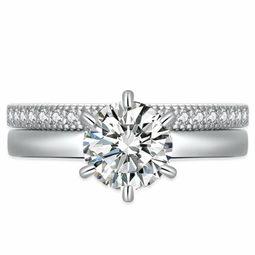 925 Sterling Silver Aaa+ Cubic Zirconia Round Cut Solitaire Cz Wedding Ring Set